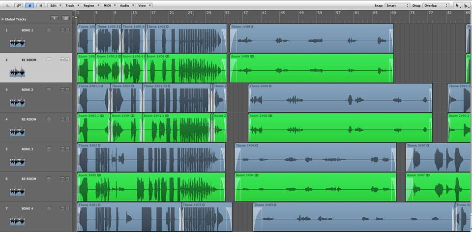 screen shot of waveforms from a project Ryan worked on as an audio recording engineer