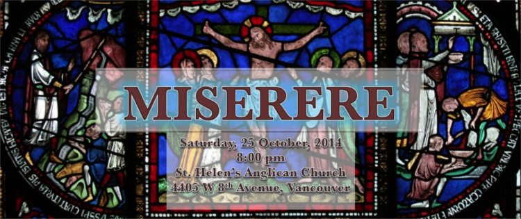 Pacifica Singers present Miserere on October 25, 2014