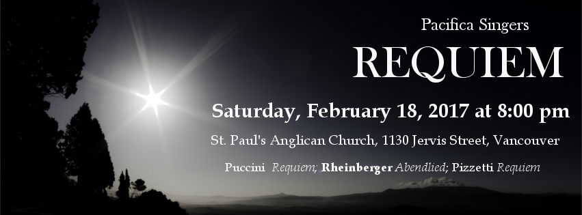 Pacifica Singers present REQUIEM on February 18, 2017