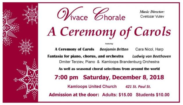 "Vivace Chorale presents ""A Ceremony of Carols"" on saturday december 8 2018"