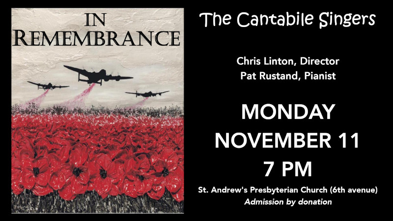 "the cantabile singers present ""in remembrance"" monday, november 11 at 7 pm"
