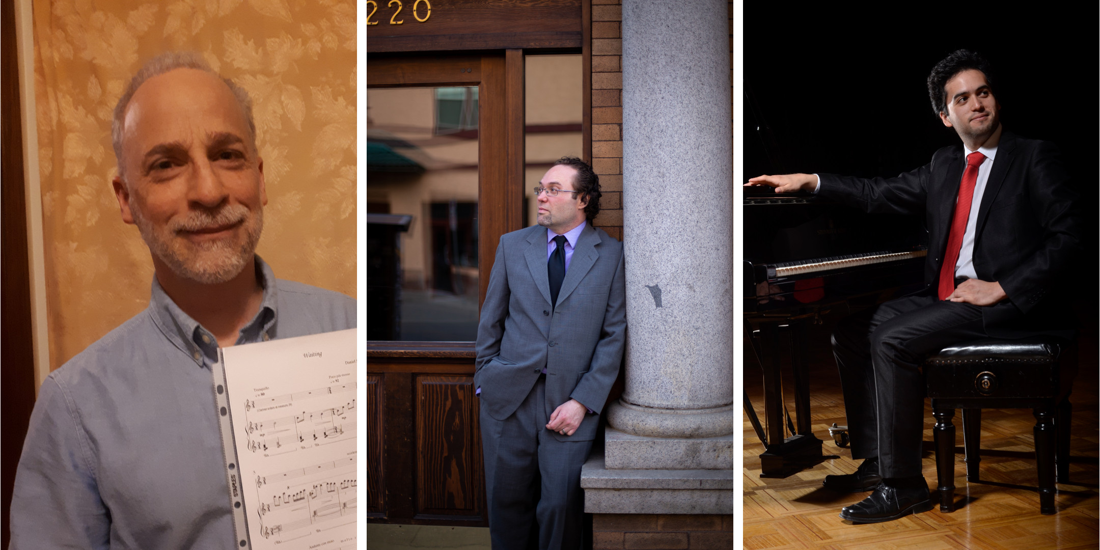 collage of composers daniel silverberg, ryan noakes, and daniel bahamondes